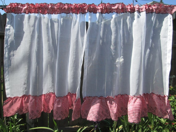 Sheer Kitchen Curtains 50s Bright White Organza And Red