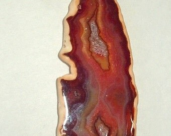 Orange and Brown Agate with Druzy Slice Fan Pull Lamp Chain Pull 112x37x5mm