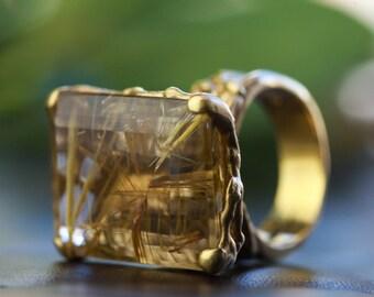 Fabulous 25 Carat Rutilated Quartz Gold Ring, Rutilated Quartz and Gold Ring, Gold Statement Ring, Quartz and Gold Ring, Zehava Jewelry