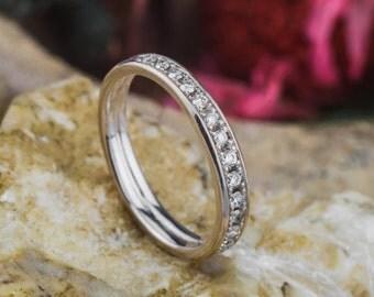 White Gold Diamonds Eternity Ring, 18K White Gold Ring, Natural White Diamonds Ring, Zehava Jewelry