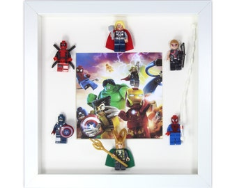 Handmade Picture Frame Marvel Avengers Superhero Minifigures With Captain America, Spiderman And Thor