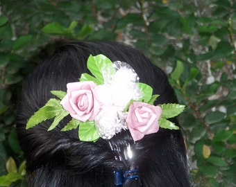 Bridal haircomb - Antique pink and shimering white flowers on silver tone metal comb