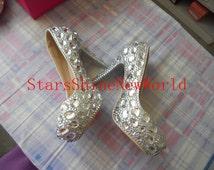 Discount Custom  Diamonds Wedding Shoes Custom Bridal wedding Pumps Rhinestone Bridesmaid shoes Unique party shoes Princess shoes