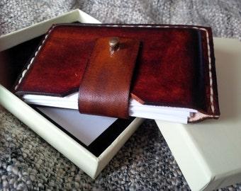 Slim leather card wallet, business card holder 'Brown'