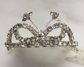Rhinestone tiara hair comb