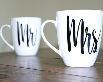 Mr. and Mrs. Calligraphy Mugs
