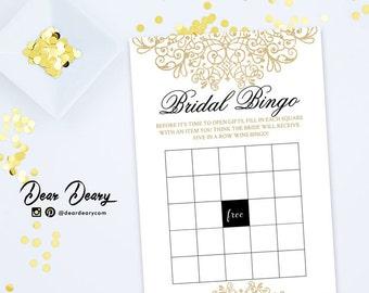 Bridal Shower Games Bingo, Gold Glitter Wedding Shower Game, Popular Shower Games , INSTANT DOWNLOAD - C068