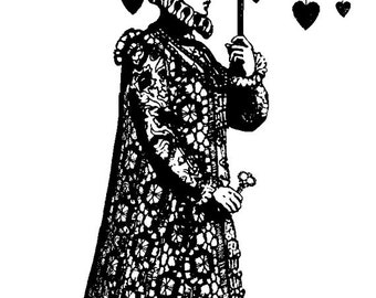 EZ Mounted Rubber Stamp Avant Garde Man under Umbrella with Hearts Altered Art Craft Scrapbooking Cardmaking Collage Supply.
