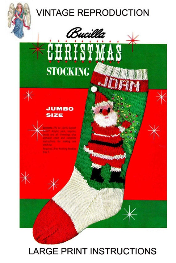 pdf santa carrying christmas tree stocking knitting vintage