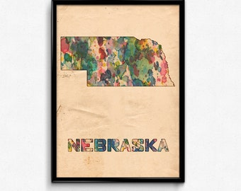 Nebraska Map Poster Watercolor Print - Fine Art Digital Painting, Multiple Sizes - 12x18 to 24x36 - Vintage Paper Colors Style