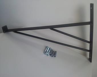 2 X Made to any size. Heavy duty double Scaffold boards brackets. Industrial Shelf Brackets.Black iron shelf brackets