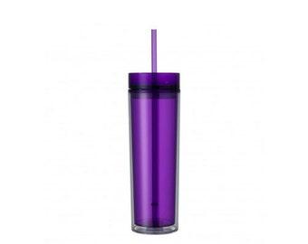 Purple Skinny Tumbler with Straw- 16 oz.