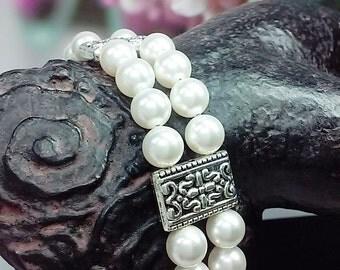 Multi Strand Wedding Bracelet, Swarovski Pearl Bracelet, Vintage Inspired Bracelet, Bridal Jewelry