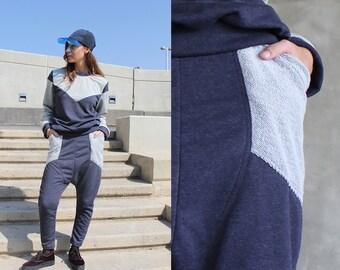 Blue Harem Pants / Drop Crotch Pants With Pockets / Low Crotch Baggy Pants / Cotton Sweatpants / Vegan Fashion / Winter Fashion / Tangens