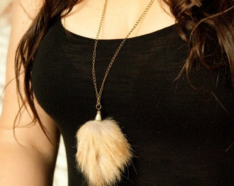 Necklace recycled fur - Recycled fur necklace - Atelier4920