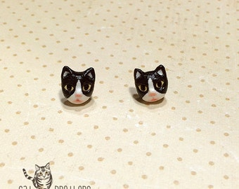 Tuxedo Cat Earrings, Stud Earrings, polymer clay, hand sculpted, hand painted with Acrylic colors.