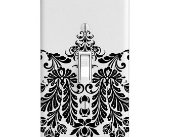 Light Switch Cover - Black and White Damask