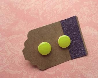 Hand-painted Earrings - Neon Yellow
