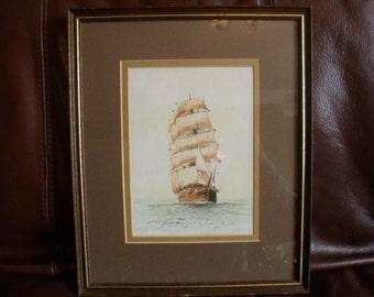 Original watercolour painting of sailing ship in full sail - OOAK work by F Wallington. Marine art. Nautical art