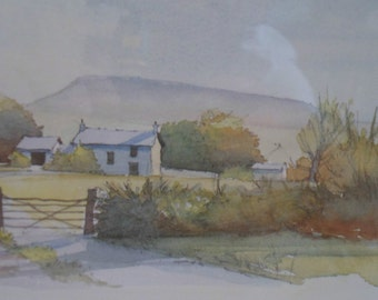 A Pair of Prints of landscape scenes in the Yorkshire Dales -  framed prints by Yorkshire artist Geoffrey Cowton.