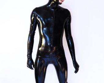 Latex Catsuit Magnetic Diver With Hood