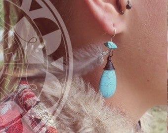 Tides - earrings turquoise magnesite and feathers