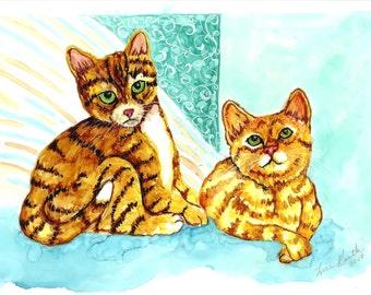 Kitten Print, Cat Print, Cat Lover Gift, Cat Art, Kitten Painting, Tabby Cats