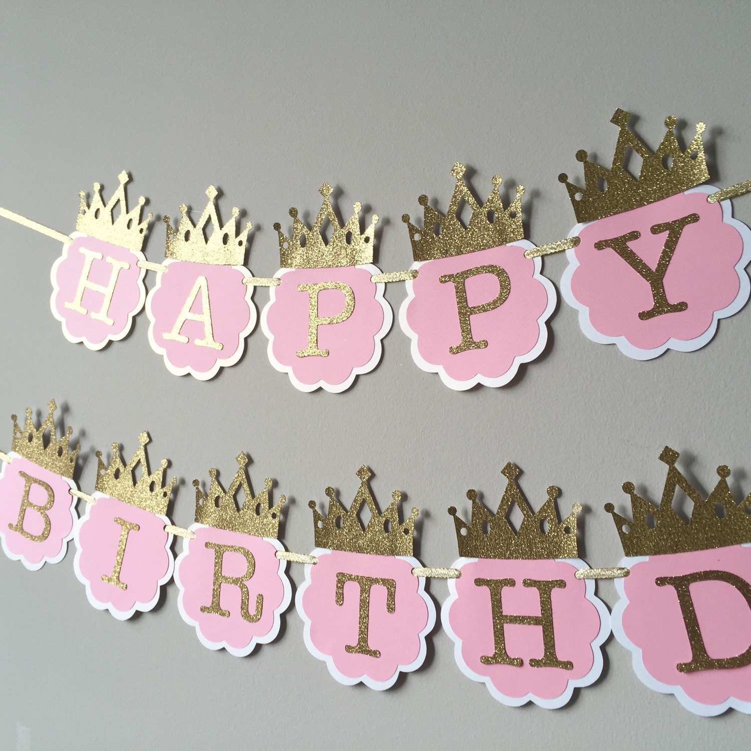 sale pink and gold first birthday banner princess birthday