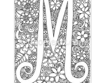 Instant Digital Download Letter H adult coloring page
