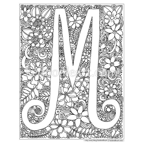Detailed M Coloring Pages : instant digital download adult coloring page letter M