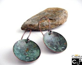 Handmade organic dangle copper earrings with green patina