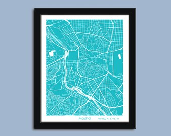 Madrid map, Madrid city map art, Madrid wall art poster, Madrid decorative map print