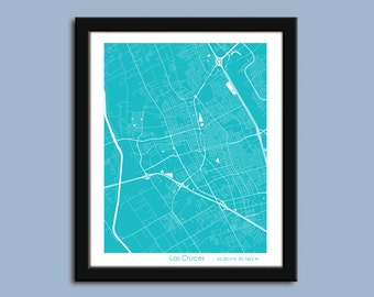 Las Cruces map, Las Cruses city art map, Las Cruces wall art poster, Las Cruces decorative map
