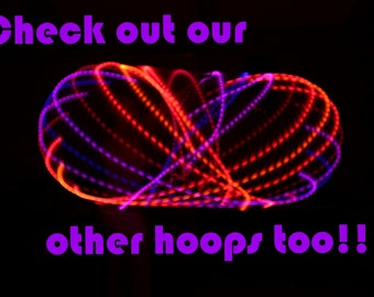 "LED Hoop! - ""Sunset"" -  sizes 26""-40""OD inch collapsible HDPE or Glow in the Dark Polypro!!"