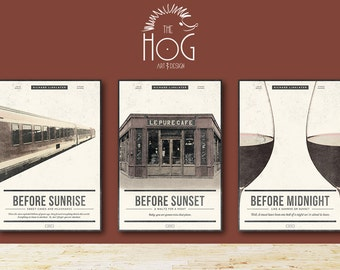 BEFORE TRILOGY SET - Sunrise, Sunset & Midnight - Unique Movie Posters - Save 20%