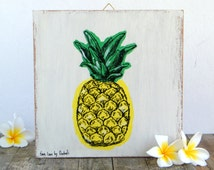 Pineapple print on wood, Hipster room decor, Wall art print, Dorm decor, Wood signs etsy, Art & collectibles, Shabby chic