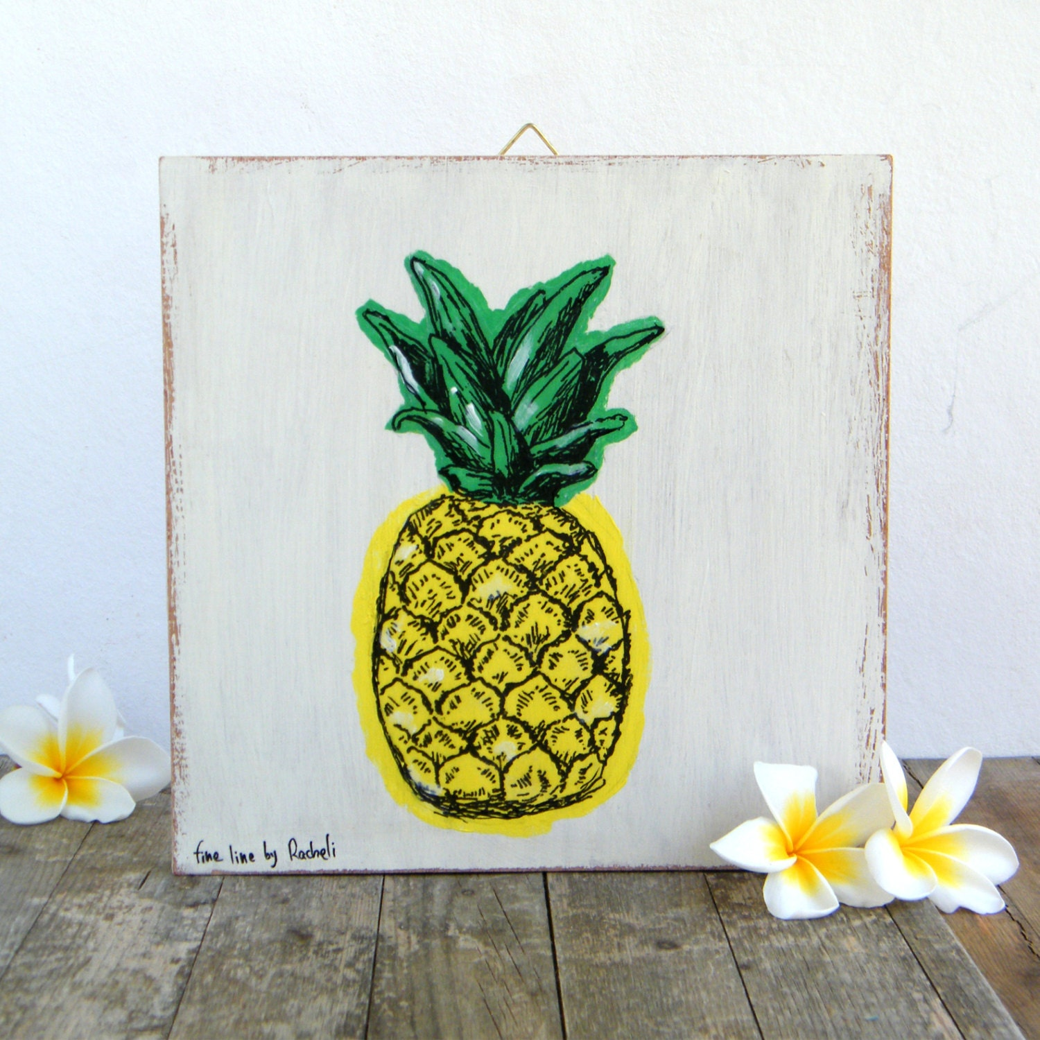 Pineapple print on wood hipster room decor wall art print for Ananas dekoration