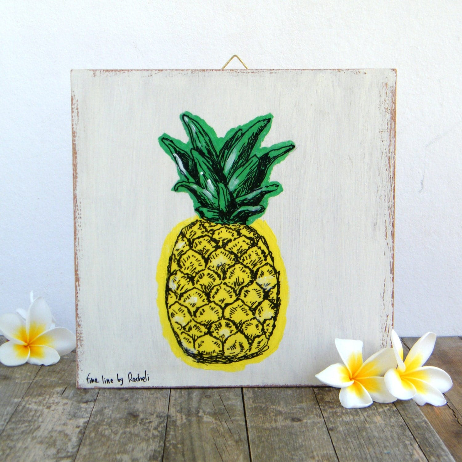 Pineapple print on wood hipster room decor wall art print Ananas dekoration
