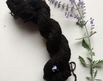 True Black 2 ply. 100% Suri. Lace yarn