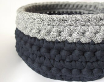 Modern crochet storage basket, bowl, chunky, fabric yarn, navy and grey, recycled yarn