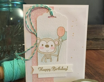 "Hand Stamped ""Monkey Business"" Birthday Card for girls"