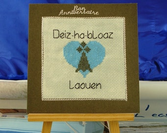 Card anniversary embroidered breton text cross stitch