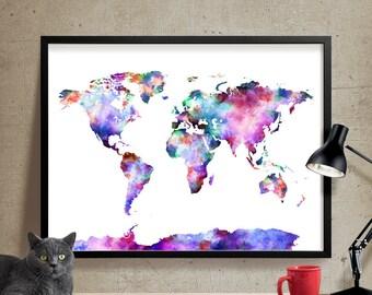 World map, Art Print, World Map Poster Large, Watercolor World Map Art, Artwork, World Map Wall Art, Painting (07)