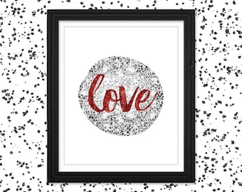 Red Love Printable Wall Art / Red Love Print Download / Leopard Print Wall Art / Red Glitter Print / Romantic Print / Valentines Day Decor