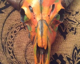 Hand painted faux bison skull