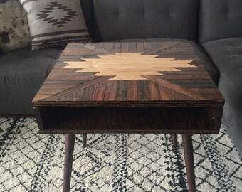 NIGHTSTAND Navajo Aztec Native Mid-Century Side Table