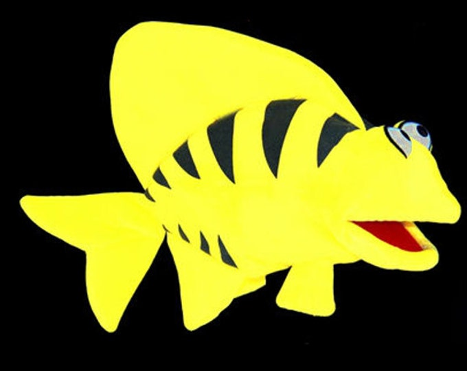 Black Light Angel Fish Puppet. Large Puppet for Professional Puppet Performances. Use in Blacklight Puppet Shows or Daylight.