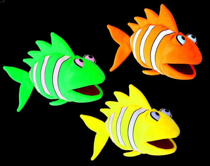 Three Black Light Clown Fish Puppets. Large Puppets for Professional Puppet Performances. Use in Blacklight Puppet Shows or Daylight.