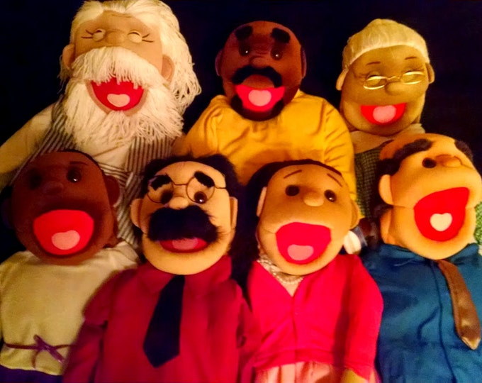 "Puppet Starter Set of 7 Puppets! 7 New Full/Half Body Large 30"" Rod Arm Puppets for Professional Use & Puppet Ministry"