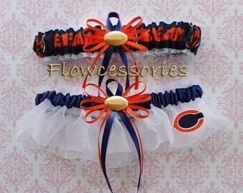 CHICAGO BEARS handmade football bridal garters - keepsake garter set